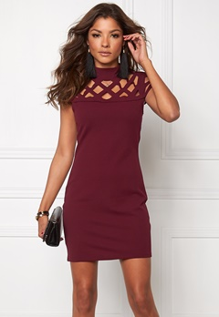Mixed from Italy Laser Cut Bodycon Dress Wine Bubbleroom.no
