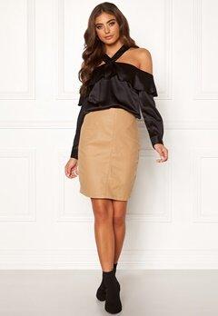 Moa Mattsson X Bubbleroom Coated skirt Camel Bubbleroom.se