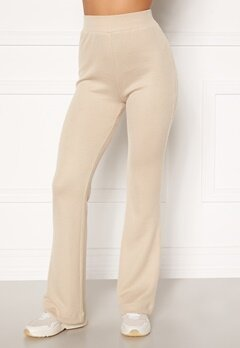 Moa Mattsson X Bubbleroom Cozy rib trousers Light beige Bubbleroom.se