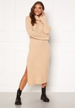 Moa Mattsson X Bubbleroom Knitted high slit midi dress Beige Bubbleroom.se