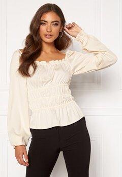 Moa Mattsson X Bubbleroom Waist smock blouse Offwhite Bubbleroom.se
