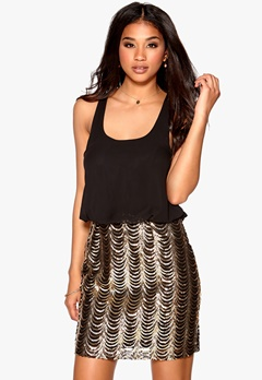 Model Behaviour Evelina Dress Gold/Black Bubbleroom.fi