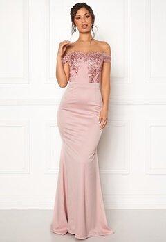 Moments New York Alyssa Bardot Gown Pink Bubbleroom.se