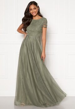 Moments New York Anna Mesh Gown Green Bubbleroom.se