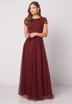 Moments New York Anna Mesh Gown Wine-red Bubbleroom.se