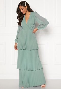 Moments New York Astrid Frill Gown Grey-blue Bubbleroom.se