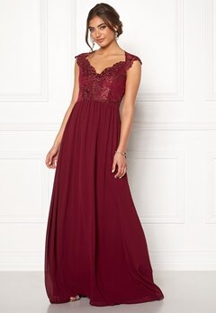 Moments New York Blossom Chiffon Gown Wine-red Bubbleroom.se