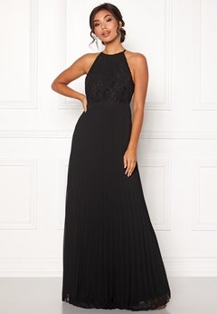 Moments New York Casia Pleated Gown Black Bubbleroom.se
