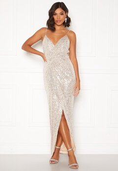 Moments New York Charlotte Sequin Gown Gold Bubbleroom.se