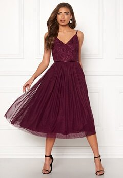 Moments New York Daphne Mesh Dress Wine-red Bubbleroom.se