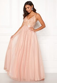Moments New York Daphne Mesh Gown Light pink Bubbleroom.se