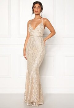 Moments New York Delphine Beaded Gown Champagne Bubbleroom.se