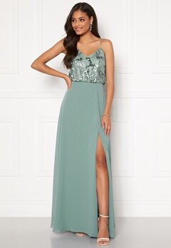 Moments New York Elouise Sequin gown Dusty green Bubbleroom.se