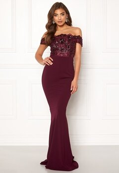 Moments New York Francine Sequin Gown Wine-red Bubbleroom.se