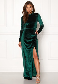 Moments New York Inda Velvet Gown Dark green Bubbleroom.se