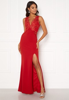 Moments New York Isabella Lace Gown Red Bubbleroom.se