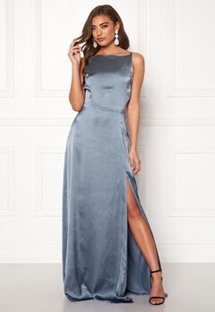 Moments New York Laylani Satin Gown Dusty blue Bubbleroom.se