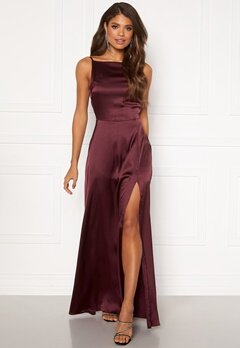 Moments New York Laylani Satin Gown Wine-red Bubbleroom.se