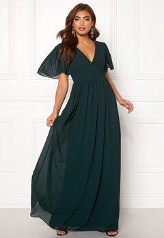 Moments New York Liana Chiffon Gown Dark green Bubbleroom.se