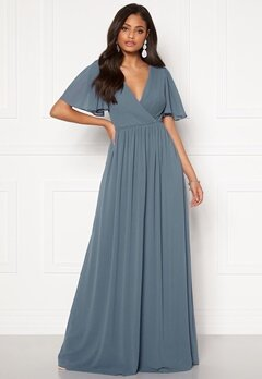 Moments New York Liana Chiffon Gown Grey-blue Bubbleroom.se