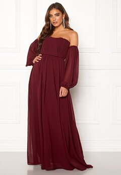 Moments New York Liliane Pleated Gown Wine-red Bubbleroom.se
