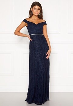 Moments New York Melina Lace Gown Navy Bubbleroom.se