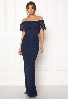 Moments New York Rose Lace Gown Dark blue Bubbleroom.se