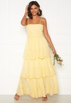 Moments New York Vera frill gown Light yellow Bubbleroom.se