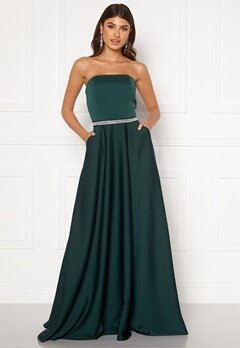 Moments New York Victoria Satin Gown Emerald green Bubbleroom.se