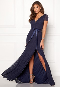 Moments New York Viola Lace Gown Dark blue Bubbleroom.se