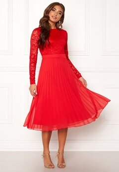Moments New York Zaria Pleated Dress Red Bubbleroom.se