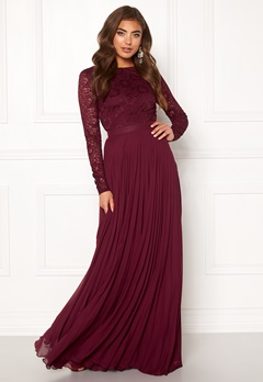 Moments New York Zaria Pleated Gown Wine-red Bubbleroom.se