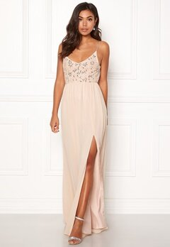 Moments New York Zinnia Beaded Gown Champagne Bubbleroom.se