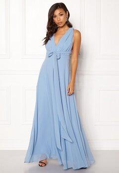 Goddiva Multi Tie Chiffon Dress Blue Bubbleroom.se