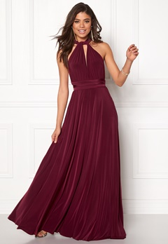 Goddiva Multi Tie Maxi Dress Berry Bubbleroom.no