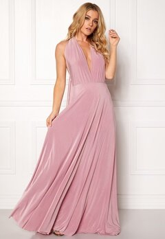 Goddiva Multi Tie Maxi Dress Dusty Pink Bubbleroom.se