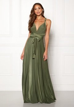 Goddiva Multi Tie Maxi Dress Olive Green Bubbleroom.se