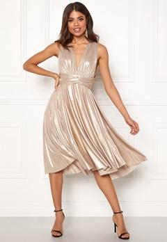 Goddiva Multi Tie Midi Dress Gold Bubbleroom.se
