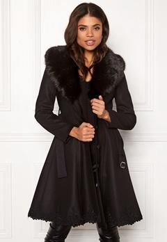 Ida Sjöstedt Nadine Coat Wool Black/Black Fur Bubbleroom.se