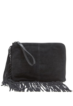 Pieces Nancy suede clutch Black Bubbleroom.se