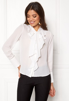 ONLY New Intu LS Frill Shirt White Bubbleroom.fi