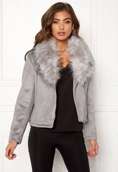 New Look Ava Shawl Collar Suedette Grey Bubbleroom.se