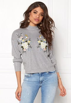 New Look Bird Embroidered Sweat Pale Grey Bubbleroom.no
