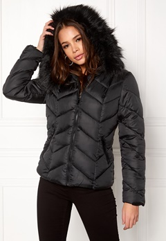 New Look Chevron Puffer Jacket Black Bubbleroom.fi