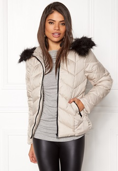 New Look Chevron Puffer Jacket cream Bubbleroom.se