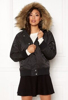 New Look Denham Fur Hood Bomber Black Bubbleroom.se