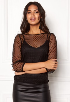 New Look Dobby Puff Top Black Bubbleroom.fi