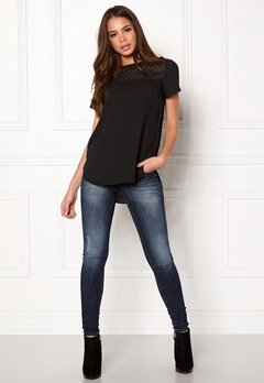 New Look Dobby Spot Yoke Tee Black Bubbleroom.fi