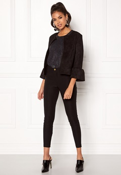 New Look Frill Short Suedette Jkt Black Bubbleroom.fi