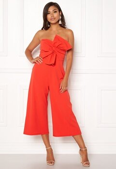 New Look Go Bow Strapless Jumpsuit Red Bubbleroom.se